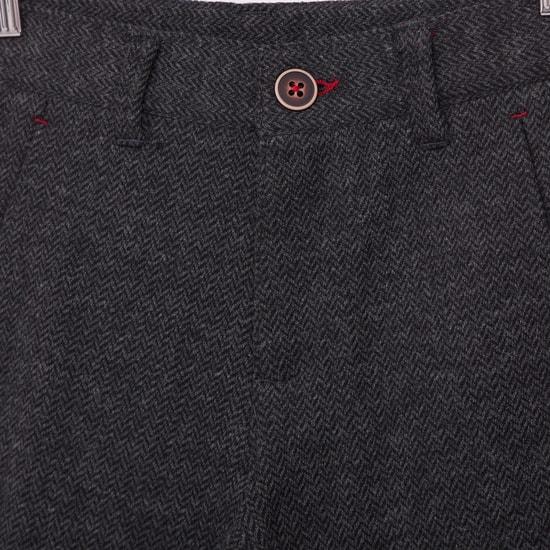 Full Length Herringbone Textured Joggers with Pockets