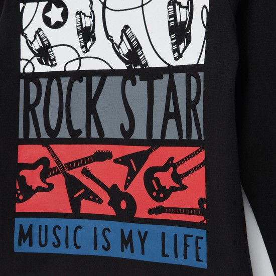 Rock Music Graphic Print Round Neck T-shirt with Long Sleeves