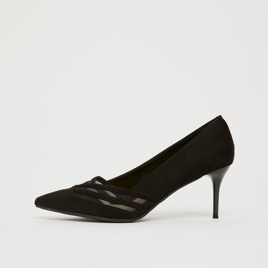 حذاء سهل الإرتداء بكعب رفيع بارز الملمس