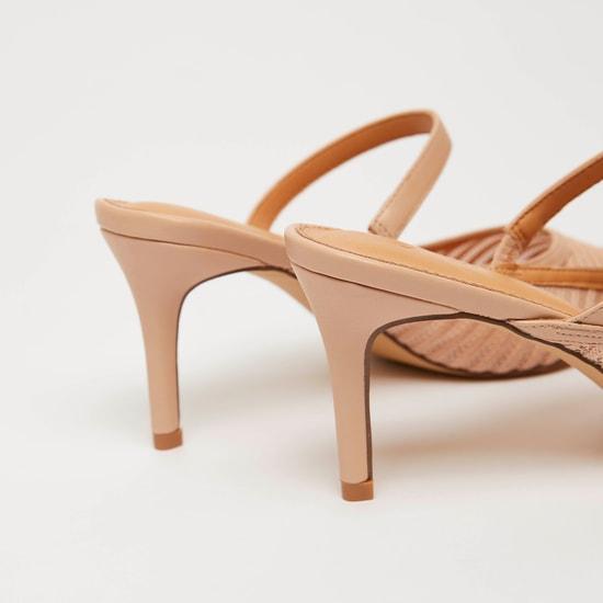 حذاء ميول سهل الارتداء بارز الملمس بكعب ستيليتو