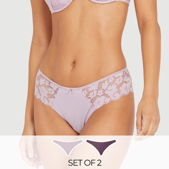 Set of 2 - Lace Detail Brazilian Briefs with Elasticated Waistband