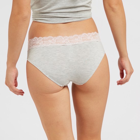 Solid Bikini Briefs with Lace Detail and Elasticised Waistband