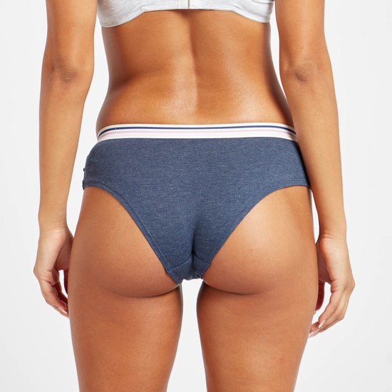 Solid Bikini Briefs with Wide Elasticised Waistband