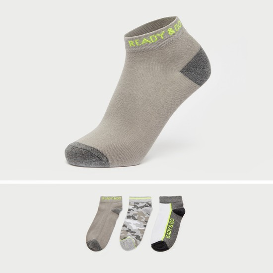 Pack of 3 - Printed Ankle Length Socks with Cuffed Hem