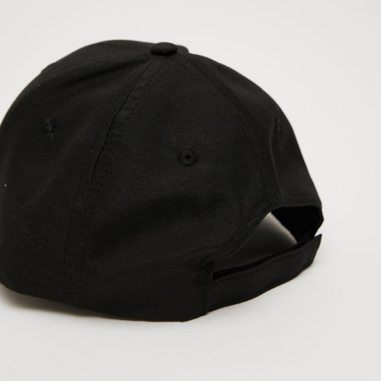 Text Print Cap with Hook and Loop Closure
