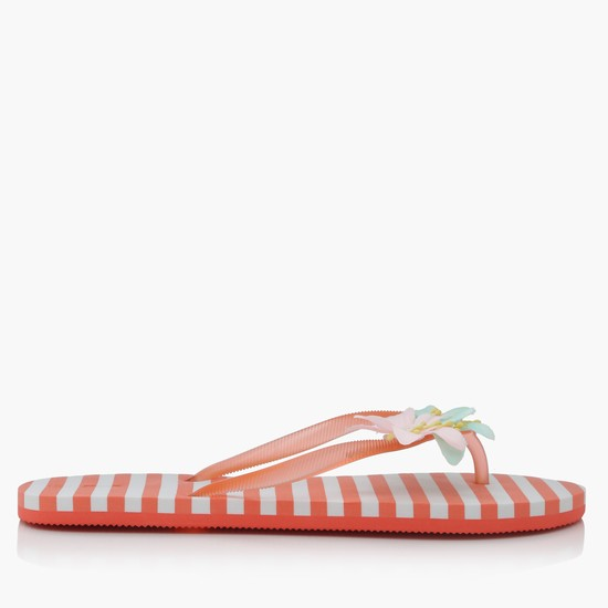 Striped Thong Slippers with Flower Appliques