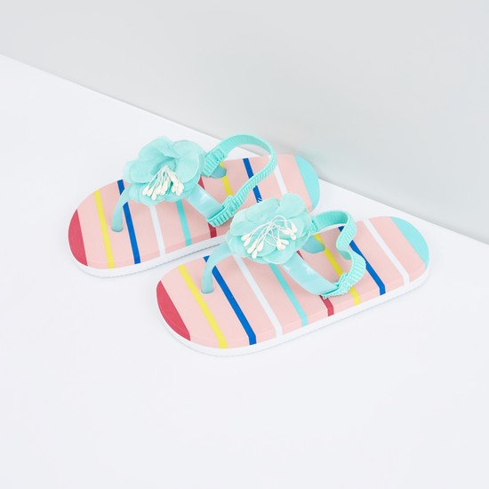 Striped Flip Flops with Elasticised Backstrap and Flower Detail