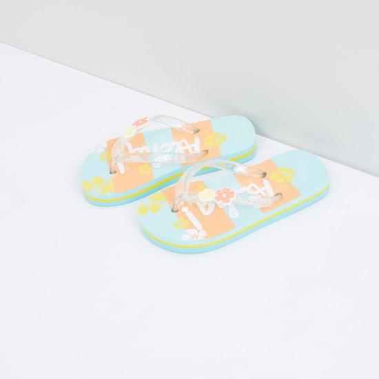 Printed Flip Flops with Flower Applique Detail
