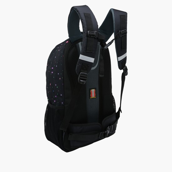 Printed Backpack with Zippered Closure and Padded Shoulder Straps