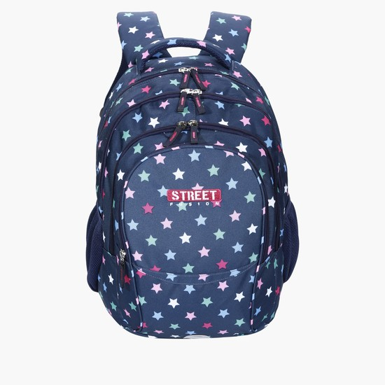 Star Printed Backpack with Zip Closure