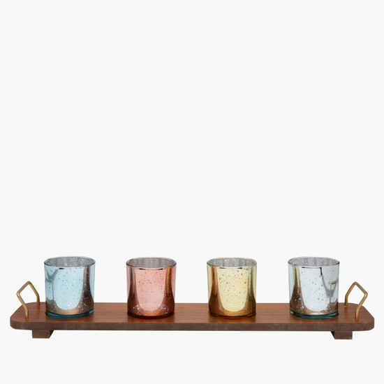 4-Piece Glass Set with Tray