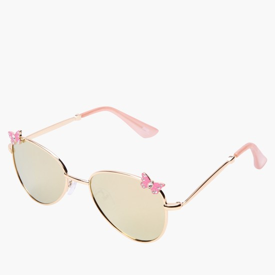Aviator Sunglasses with Butterfly Embellishment