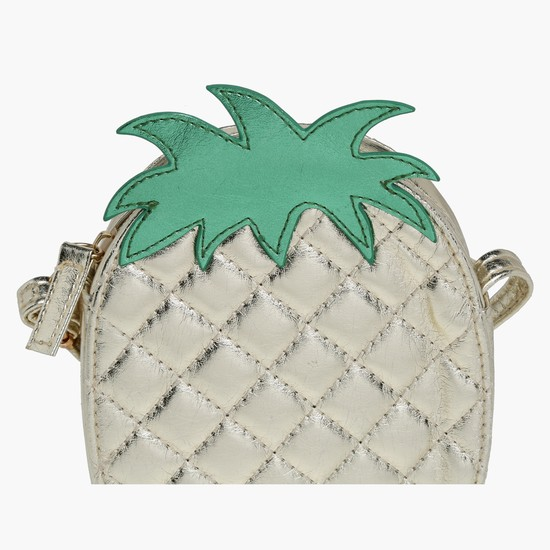 Pineapple Shape Quilted Crossbody Bag