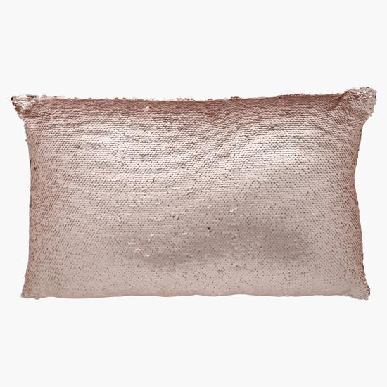 Rectangular Filled Cushion with Sequin Detail - 30x50 cms