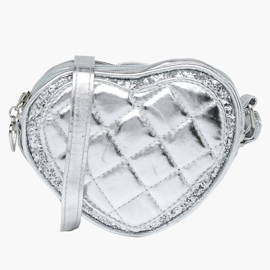 Quilted Heart Shape Crossbody Bag with Zip Closure