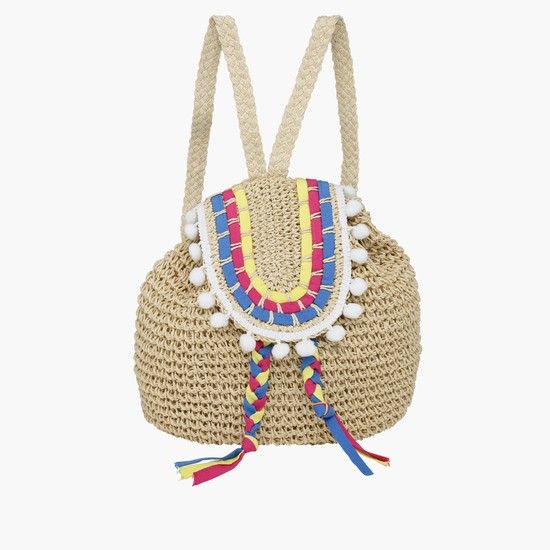 Embroidered Backpack with Drawstring Closure