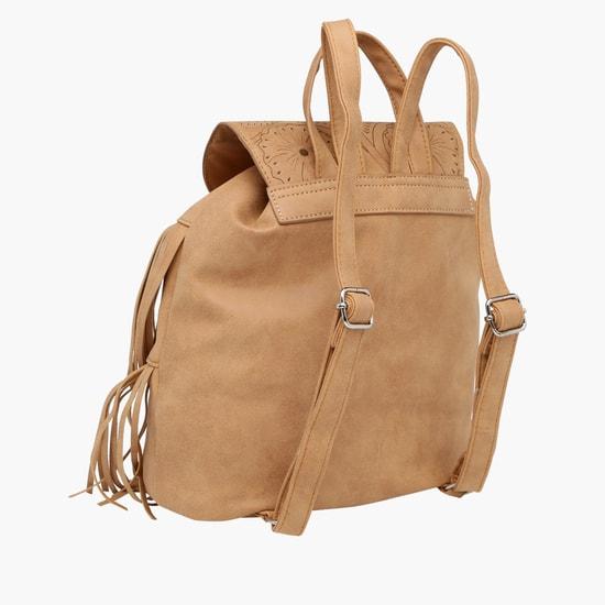 Fringed Backpack with Adjustable Straps
