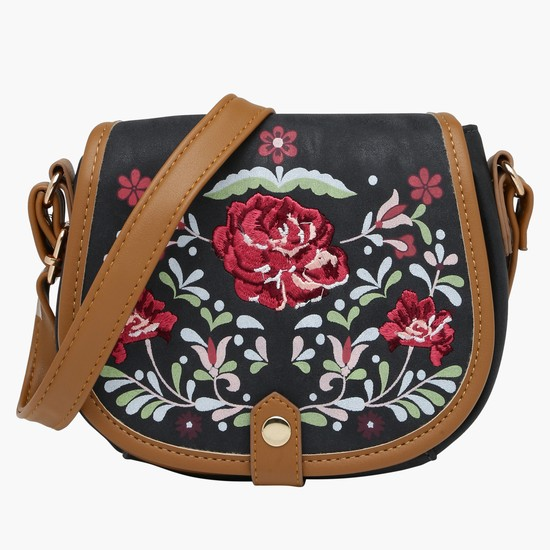 Embroidered Crossbody Bag with Adjustable Strap