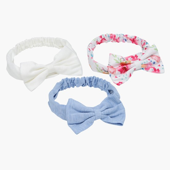 Elasticised Bow Detailing Hairband - Set of 3