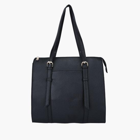 Textured Handbag with Zip Closure