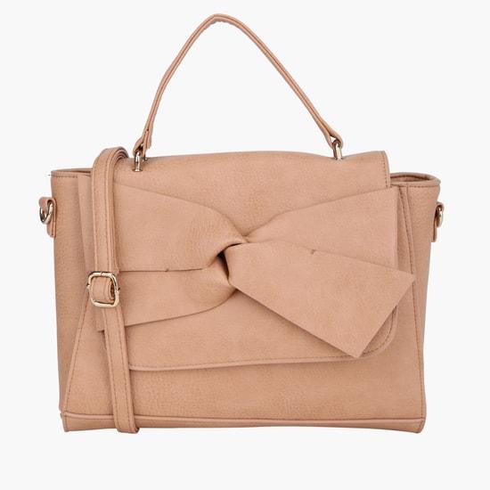 Bow Applique Handbag with Single Handle