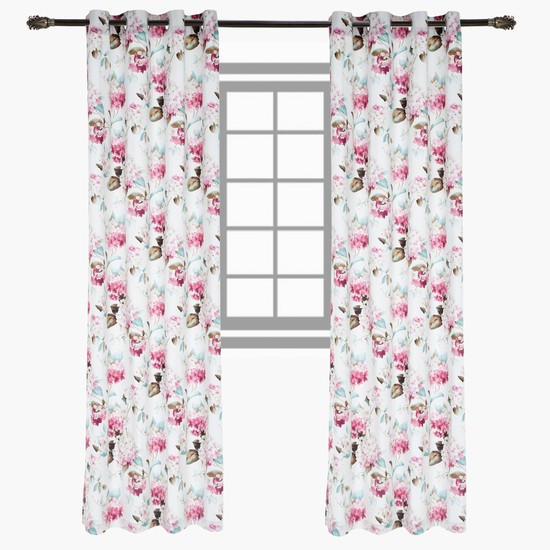 Floral Print Curtain - Set of 2