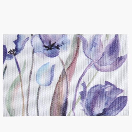 Textured Floral Print Rectangular Table Mat - 45x30 cms