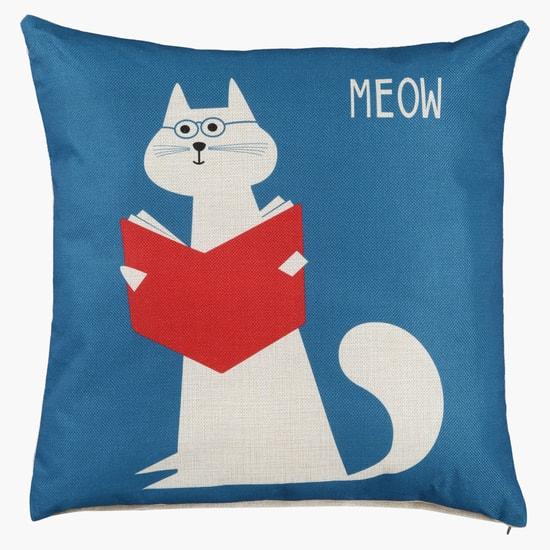 Cat Print Filled Cushion - 45x45 cms