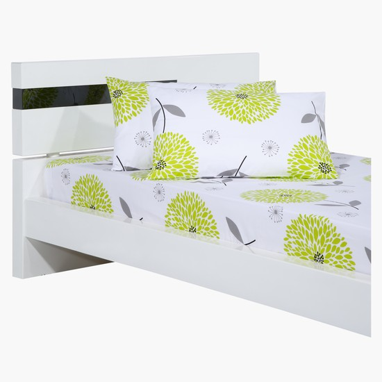 Printed 3-Piece Fitted Sheet and Pillow Cover Set