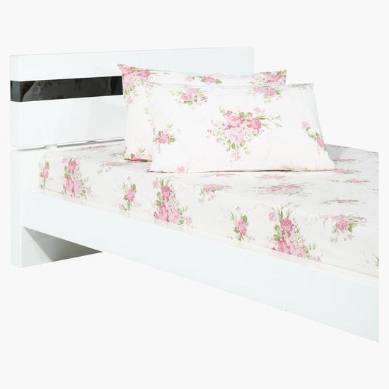 طقم شراشف سرير بطبعات الأزهار من 3 قطع