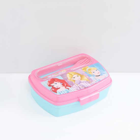 Princess Printed Lunchbox with Spoon and Fork