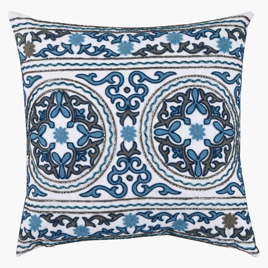 Embroidered Filled Square Cushion – 45x45 cms
