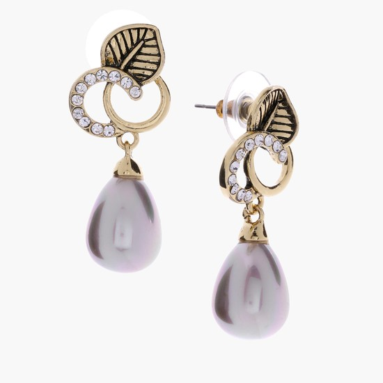 Studded Dangling Earrings with Push Back Closure