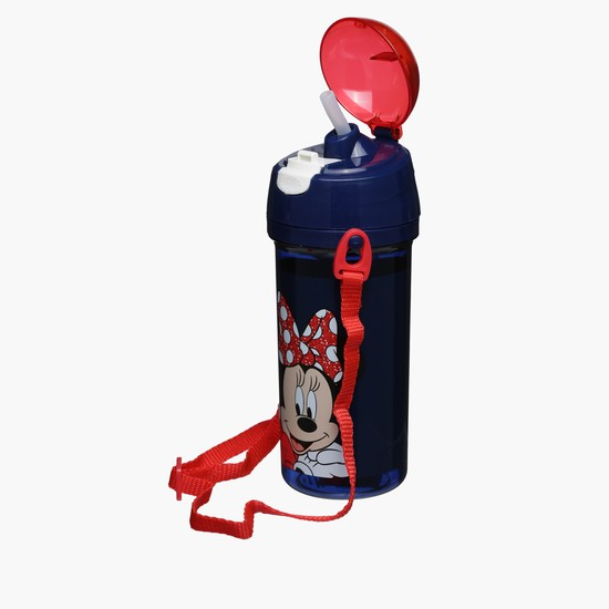 Minnie Mouse Printed Water Bottle with Flip Top Closure