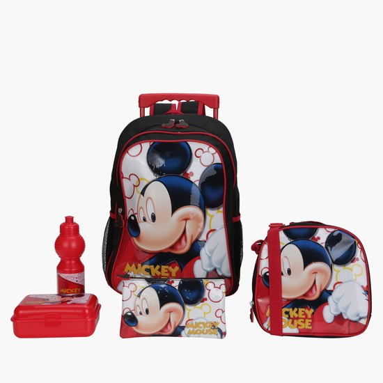 Mickey Mouse Printed 5-Piece Trolley Backpack Set
