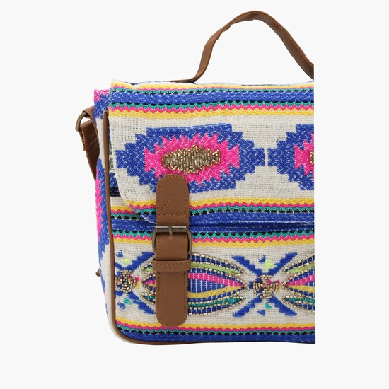 Embroidered Satchel Bag with Buckle Closure