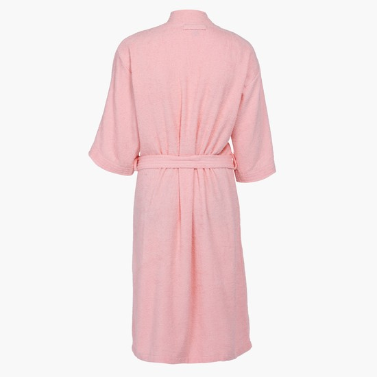 3/4 Sleeves Bathrobe with Tie Up
