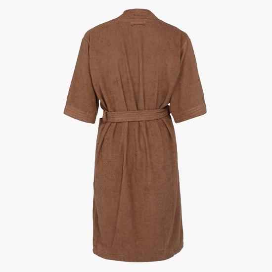 3/4 Sleeves Bathrobe with Tie Up