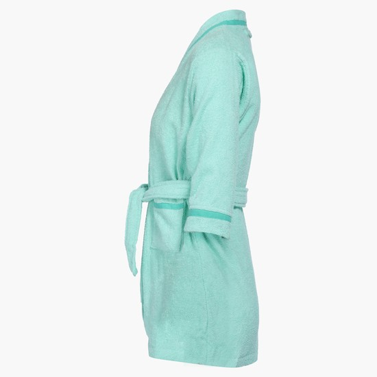 3/4 Sleeves Bathrobe with Tie Up and Contrast Lining