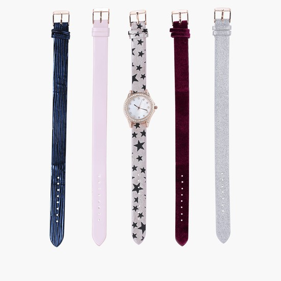 Embellished Watch with Assorted Straps