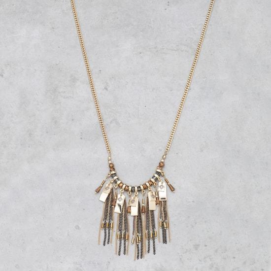 Beaded Fringed Long Necklace