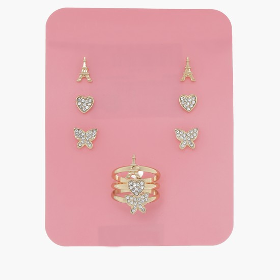 Studded Earrings and Ring Set
