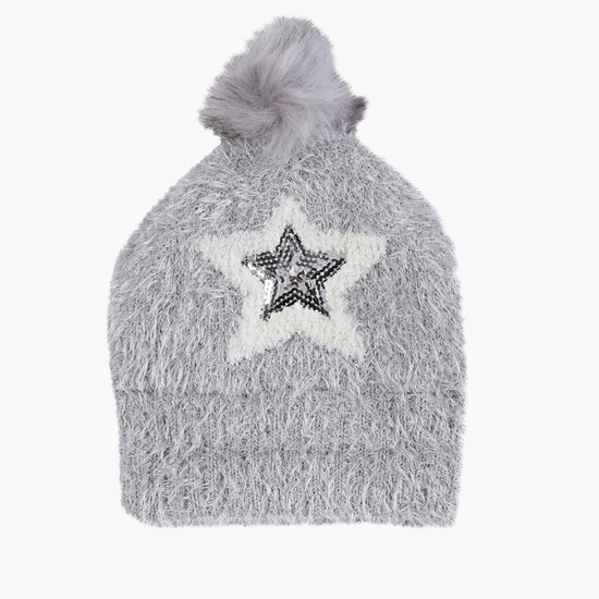 Sequin Detail Plush Beanie Cap