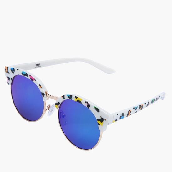 Printed Round Reflective Sunglasses
