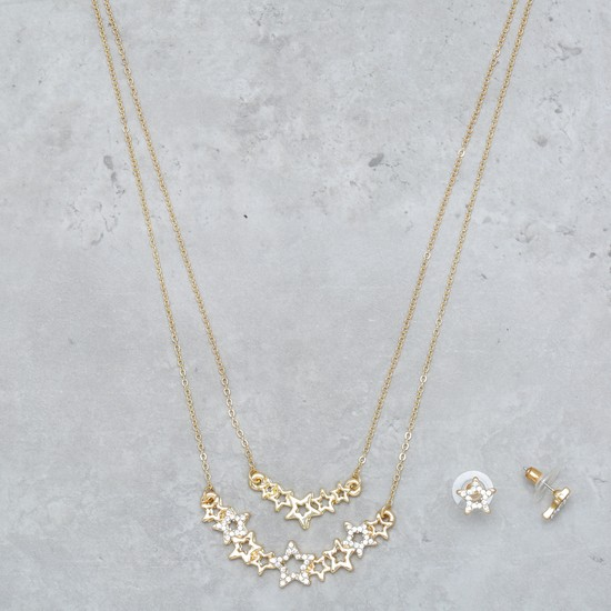 Layered Embellished Necklace and Earrings Set