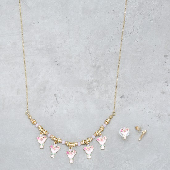 Charm Necklace and Earrings Set