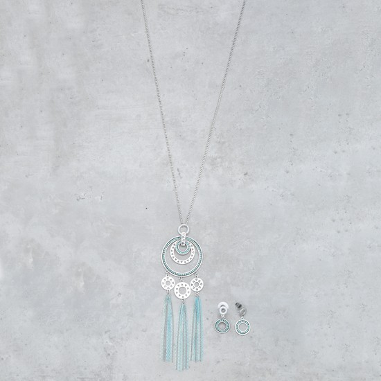 Tasselled Necklace and Earrings Set