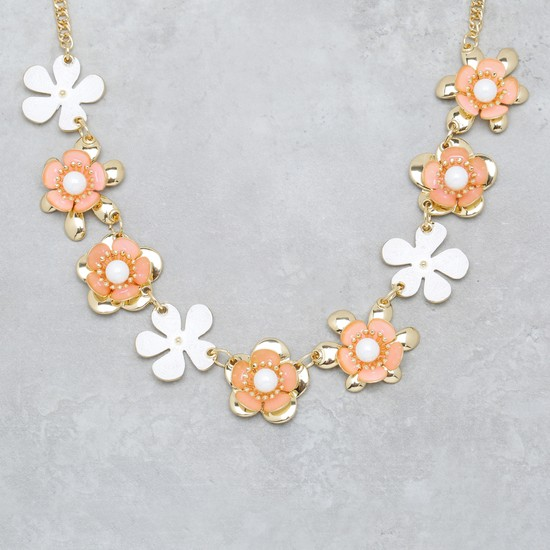Floral Design Necklace and Earring Set