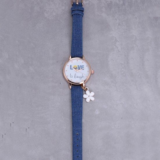 Printed Wrist Watch with Flower Charm
