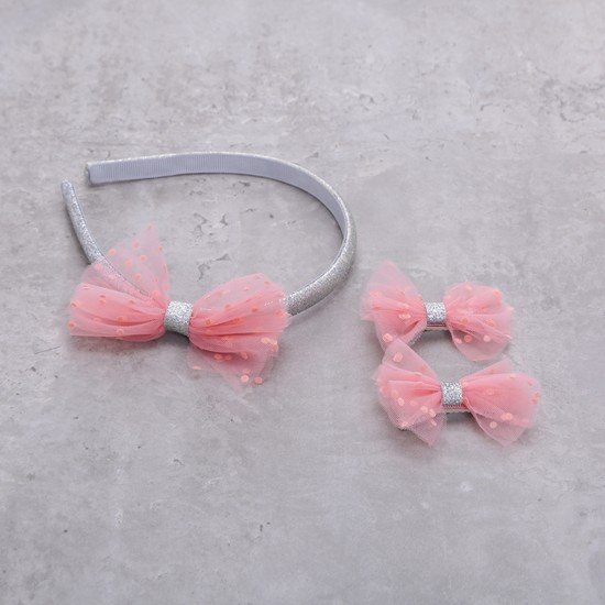 Bow Applique Hairband and Hair Clips Set